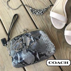 Coach Embossed Python Framed Kiss Lock Wristlet